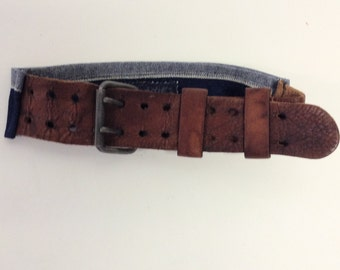Raw Destroyed Leather and Denim Belt Assemblage OOAK
