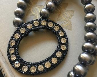 Vintage Brooch Repurpose Necklace Shoe Clip Black Silver Rhinestone Oval