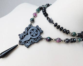 Black Carved Onyx Necklace - Ruby In Zoisite - Silver Necklace - Long Necklace - Layering Necklace