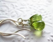 Simple small peridot gemstone earrings, spring green faceted briolettes on sterling silver (Chamberlin)