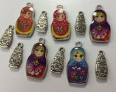 March Madness Sale Destash Jewelry Making Beading Findings 11 Beads Matryoshka Russian Doll Charms Tibetan Silver Double Sided