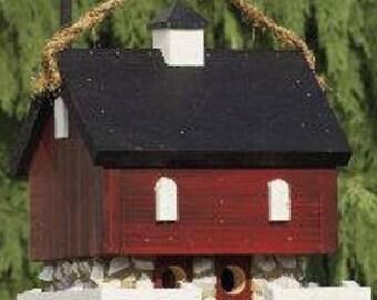 Amish Country Handmade Red Barn Birdhouse