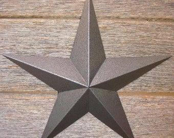 "Metallic Hammered Gray or Pewter 3""-10"" Barn Star"