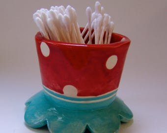 whimsical pottery Bathroom q-tip Cup, ceramic cotton swab holder :) red & turquoise, polka-dots home decor