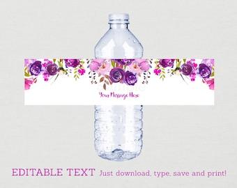 Purple Floral Water Bottle Labels / Floral Bridal Shower / Watercolor Floral / Purple Bridal Shower / INSTANT DOWNLOAD Editable PDF B106