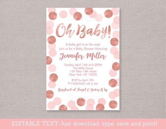 rose gold baby shower invitation / glitter dots / glitter confetti,