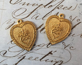 2 Sacred Heart Medal Religious Pendant Charms Made in the USA