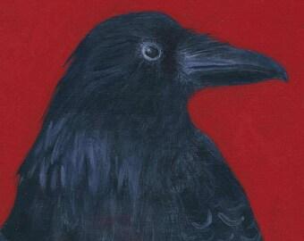 Crow Original Acrylic Painting - Folk Art Wall Decor by Tamara Adams