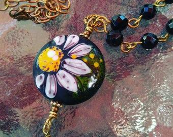 Black Lampwork Bead Daisy Necklace Handmade
