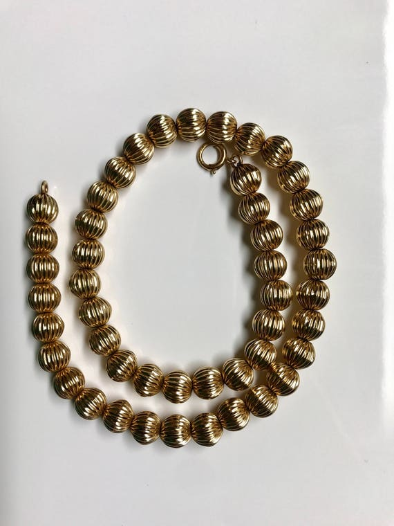 "14K Yellow Gold 15"" Bead Necklace (23.4 grams)"