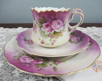 Vintage Lefton Trio - Cup Saucer Plate - Rose Floral in Purple Pink - Gilt Trim - Japan