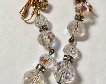 Clear Faceted Vintage  Crystal Dangle Long Earrings