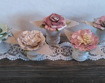 Rustic Flower Table Decorations Shabby Chic Vintage Wedding