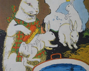 Vintage Children's Book Illustrations • Art Print Rabbits Bunnies Book Pages 1920s • 1929 Twistum Tales Illustrated Book 4 Pages