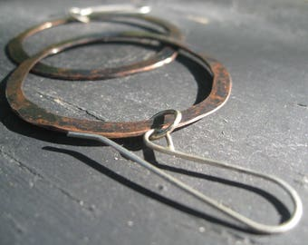Revisited -Hammered Copper Hoops Hand Forged Sterling Silver Ear Wires Jane Plain Adventure Talisman Jewelry