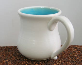 Pot Belly Mug, Large Pottery Coffee Mug in Turquoise Blue 14 oz. Handemade Wheel Thrown Stoneware Ceramic Mug
