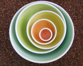 Rainbow Pottery Nesting Bowls, Large Ceramic Stoneware Serving Set, Wedding Gift, Wheel Thrown