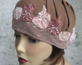 Womens Hat Soft Tan Jersey Knit Beaded Mesh With Mauve And Pale Pink Flower Trim Chemo Hair Loss Cap Hat Head Sz 21- 23