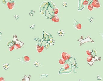 """ON SALE Penny Rose Fabrics """"Bunnies and Cream"""" Mint Strawberry"""