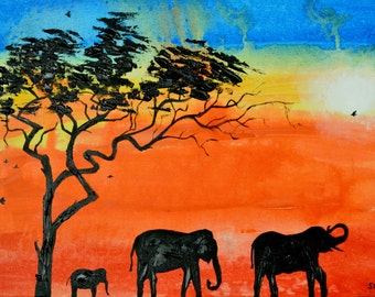 African Sunrise, Elephant, Silhouette, Original Painting, Oil Painting, Tree
