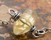 Citrine Necklace, November Birthstone, Minimalist Stone Necklace, Sterling Silver, Yellow Gemstone Jewelry, Birthstone Jewelry, #4779