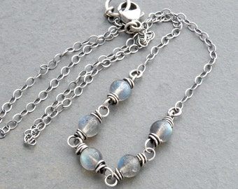 Blue Flash Labradorite Necklace, Light Gray Gemstone Jewelry, Wire Wrapped Sterling Silver  #4753a
