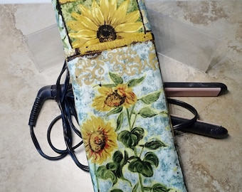 Travel Flat Iron Case, Curling Iron Case, Travel Gift Case, Sunflower Fabric, Travel Hot Iron Sleeve, Heat Tolerant Lining,Gift for Her