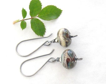 lampwork drop earrings, teal dangle earrings, silver earrings, oxidized jewelry, rustic earrings, boho teal dangle earrings