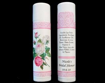 Lip Balm - Bridal Shower Favors - Lip Balm Favors - Personalized Lip Balm - Vanilla Lip Balm - Pink Floral