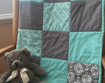 Mint and Grey Baby Blanket