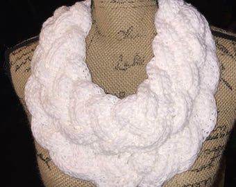 White Crochet Braided Cowl