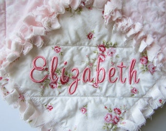 "Personalized Baby Quilt, 29""x34"" Rag Quilt, Pink Rose White, Flannel, Cotton, Shabby Cottage Chic"