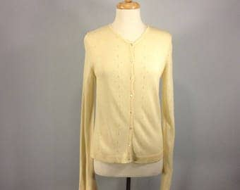Vintage J Crew sweater, 80s cardigan sweater, ivory sweater, rayon sweater, winter sweater