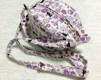 Shoulder Bag / Purse / Hand Bag --- Black Cats in a Flower Garden - Lavender