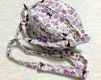 Shoulder Bag / Purse / Hand Bag --- Black Cats in a Flower Garden - Lavender