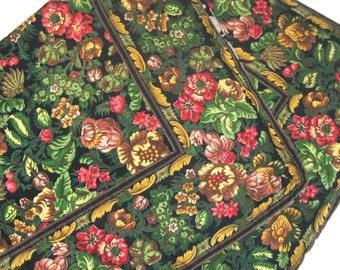 floral tablecloth  . dark floral tablecloth . April Cornell . April Cornell tablecloth . cabbage rose tablecloth . square tablecloth