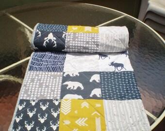 Handmade Baby quilt, baby girl quilt, baby boy bedding,deer crib bedding, woodland, grey navy mustard nursery,bear, moose,deer, Woodsy Spice
