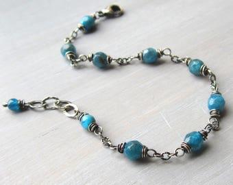 Apatite Bracelet, Apatite Jewelry, Sterling Silver Wire Wrapped Blue Beaded Gemstone Bracelet, Apatite Yoga Bracelet, Gift for Her