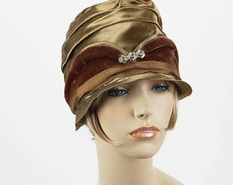 Vintage 1920s Cloche Hat Brown Velvet and Bronze NOS Sz 22