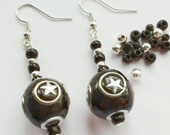 Black Star Earrings, Star Earrings, Dangle Earrings, Goth Jewellery, Goth Earrings, Gifts For Teens, Gifts For Her, Black Earrings,