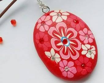 Red Flower Necklace, Red Flower Pendant, Statement Necklace, Red Flower Jewelry, Festival Necklace, Gift For Women, Teen Gift, Friend Gift