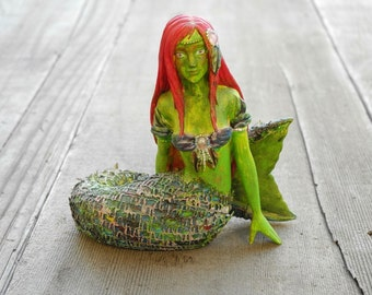Miniature Garden Mermaid, Hand Painted, Customized, Pretty, Great Detail, For Mini Garden or Fairy Garden, UV Protection, Unusual, OOAK