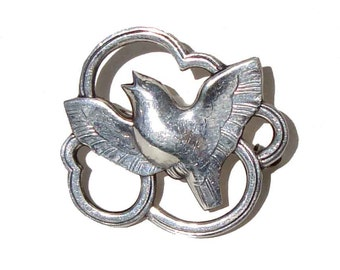 Vintage Danish Modernist Brooch Silver Bird Eiler & Marloe Skonvirke Dove Pin