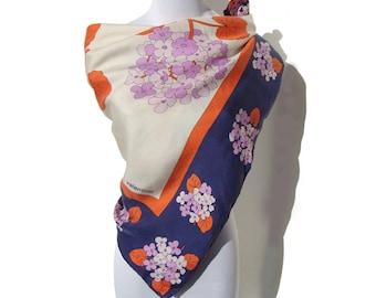 Vintage Valentino Silk Foulard Scarf Floral Orange Blue Lavender Hydrangea