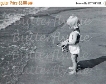 NOW  ON SALE Digital Download Cute Little Blonde Girl On Beach with Mickey Mouse Bucket/Pail 1940's  300dpi