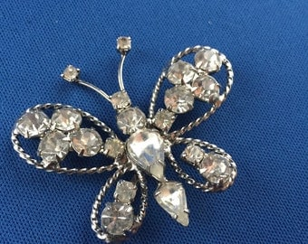 Vintage White Rhinestone Butterfly Hair Pin Bridal Wedding Silver Tone Jewelry Gypsy Renaissance Costume