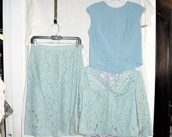 Vintage 60s Ladies 3 pc Blue Lace Suit Skirt Top Jacket sz 12