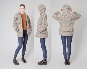 HOODED wool jacket WOOLRICH vintage coat Oversize Boxy women fall winter / Medium / better Stay together