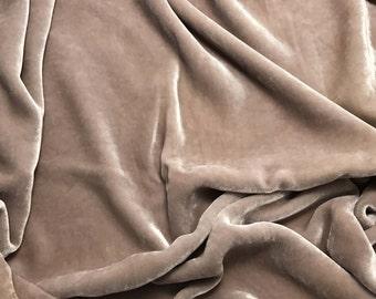 Taupe - Hand Dyed Silk Velvet 1 Yard