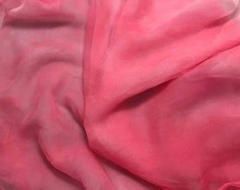 Silk Gauze Chiffon - Hand Dyed Bubblegum Pink - 1/2 Yard